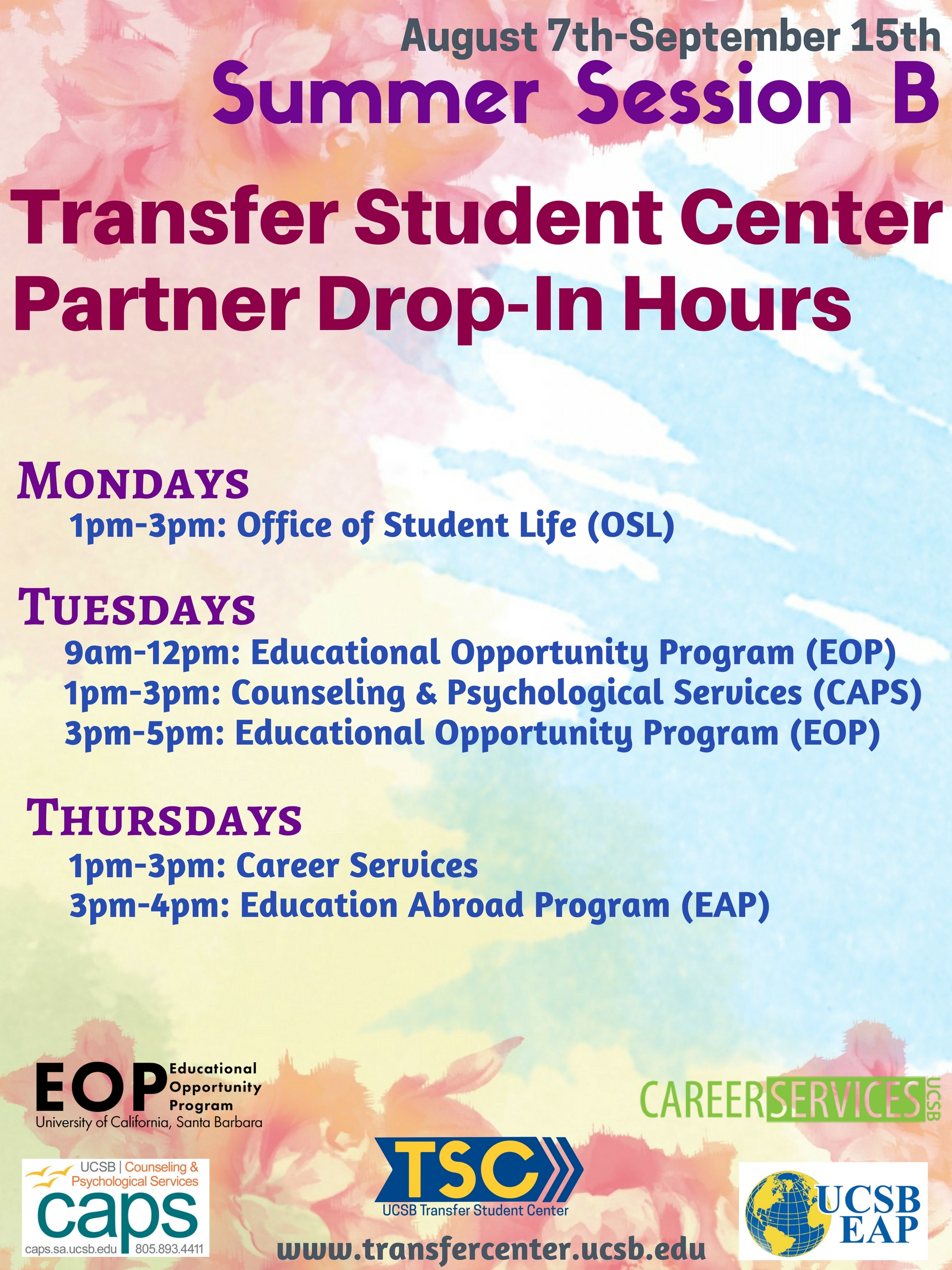 Summer Session A Drop-In Hours