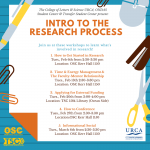 1.  How to Get Started in Research Tues., Feb 6th from 2:30-3:30 pm Location: OSC Kerr Hall 1150  2.  Time & Energy Management &  The Faculty-Mentor Relationship Tues., Feb 13th 2:30-3:30 pm Location: OSC Kerr Hall 1150   3.  Applying for External Funding Tues., Feb 20th from 3:00-4:00 pm  Location: TSC 1584 Library (Ocean Side)  4.  How to Conference Tues., Feb 27th from 2:30-3:30 pm Location:OSC Kerr Hall 1150  5.  Informational Social Tues., March 6th from 2:30-3:30 pm Location: OSC Kerr Hall 1150